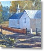 Little White Church In New Mexico Metal Print