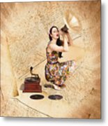 Live Music Pinup Singer Performing On Gig Guide Metal Print