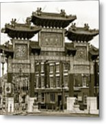 Liverpool Chinatown Arch, Gate Sepia Metal Print