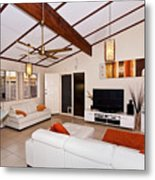 Living Room With Sloping Ceiling Metal Print