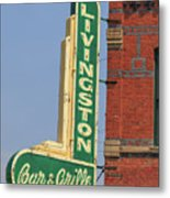 Livingston Bar And Grill Old Neon Sign Montana Metal Print