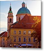 Ljubljana Church And Square Sunset View Metal Print