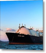 Lng Carrier Grand Aniva At Sunset On The Roads Of The Port Of Nakhodka.  Metal Print
