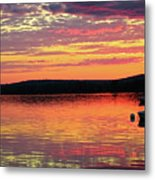 Loan Boat On A River At Sunset Metal Print