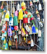 Lobster Buoys And Nets - Maine Metal Print