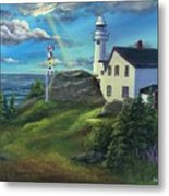 Lobster Cove Head Lighthouse, Rocky Harbour, Nl Metal Print