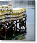 Lobster Traps In Winter Metal Print
