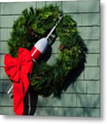 Lobsterman's Christmas Wreath Metal Print