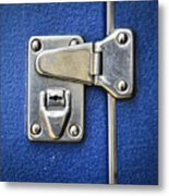 Lock On A Blue Suitcase Metal Print