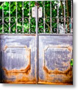 Locked Gate With Trees Metal Print