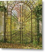 Locked Iron Gate In The Autumn Park.  Metal Print