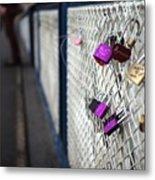 Locks On Bridge Metal Print