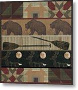 Lodge Cabin Quilt Metal Print