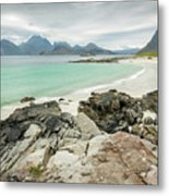 Lofoten Island Beach Scene Metal Print