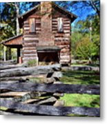 Log Cabin And Wooden Fence At Ninety Six National Historic Site 2 Metal Print