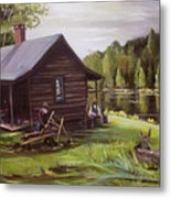 Log Cabin By The Lake Metal Print