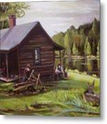 Log Cabin By The Lake Metal Print
