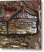 Log Cabin In Autumn Metal Print by Mindy Newman