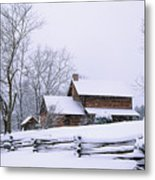 Log Cabin In Snow Metal Print