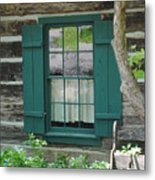 Log Cabin Window Metal Print