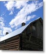 Log Clydesdale Barn Metal Print