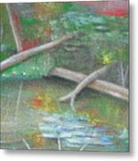 Log In The Pond Metal Print