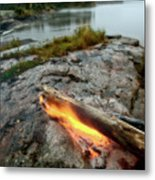 Log On Fire Manitoba Lake Wilderness Metal Print
