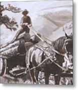 Log Wagon Historical Vignette Metal Print