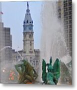 Logan Circle Fountain With City Hall In Backround 2 Metal Print by Bill Cannon