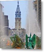 Logan Circle Fountain With City Hall In Backround 3 Metal Print