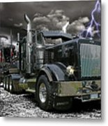 Logger On A Stormy Night Metal Print