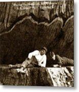 Logger With Ax On Springboard Loggers Sitting Inside Undercut  Circa 1890 Metal Print