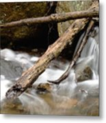 Logs In Stream Metal Print