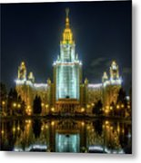 Lomonosov Moscow State University At Night Metal Print by Alexey Kljatov