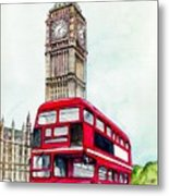 London Bus And Big Ben Metal Print