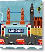 London England Horizontal Scene - Collage Metal Print
