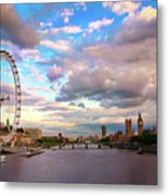 London Eye Evening Metal Print