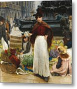 London Flower Girls Piccadilly Circus Metal Print