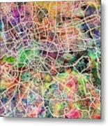London Map Art Watercolor Metal Print