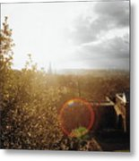 London Partialy Cloudy With A Chance Of Flare Metal Print