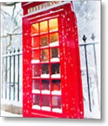London Red Telephone Booth  Metal Print