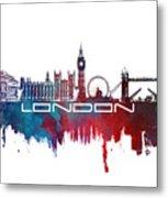 London Skyline City Blue Metal Print
