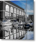 London. St. Katherine Dock. Reflections. Metal Print