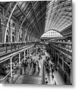 London St Pancras Station Bw Metal Print