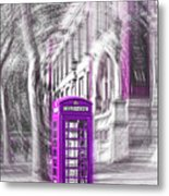 London Telephone Purple Metal Print