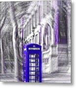 London Telephone Purple Blue Metal Print