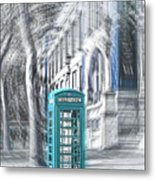 London Telephone Turquoise Metal Print