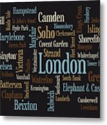 London Text Map Metal Print