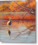 Lone Crane Still Water Metal Print