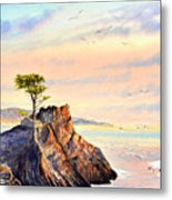 Lone Cypress Tree Pebble Beach Metal Print
